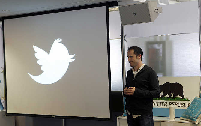Twitter's former CEO Evan Williams speaks at a news conference as the website Twitter.com is launched, in San Francisco, California.