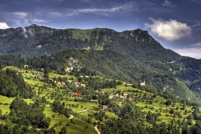 Labinje village near Cerkno.