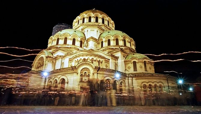 Bulgarians walk around the golden-domed Alexander Nevski cathedral after an Easter service in Sofia.