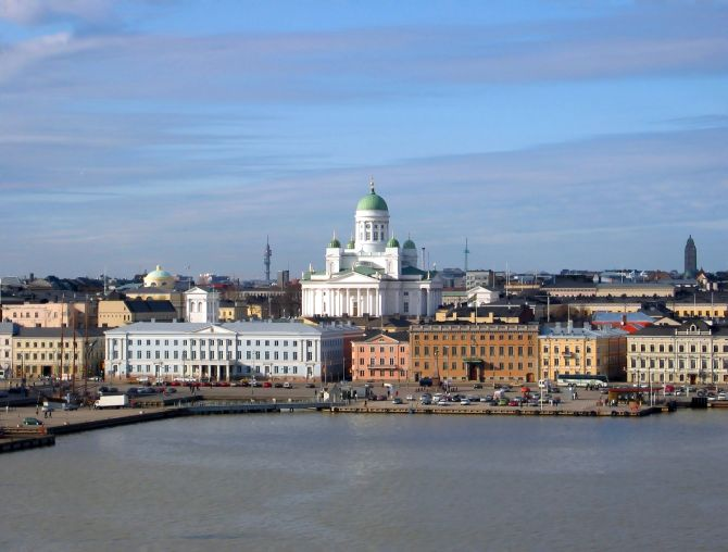 The Lutheran Cathedral in Helsinki seen from the South Harbour.
