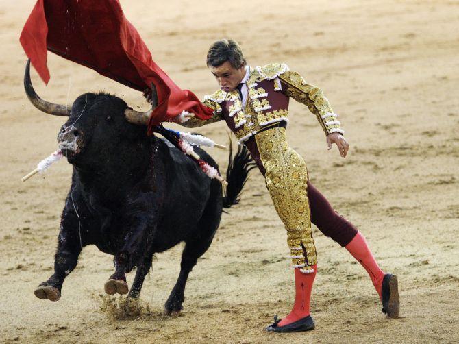French bullfighter Juan Bautista Jalabert Fournie performs a pass during San Isidro's bullfighting fair at Madrid's Las Ventas bullring.