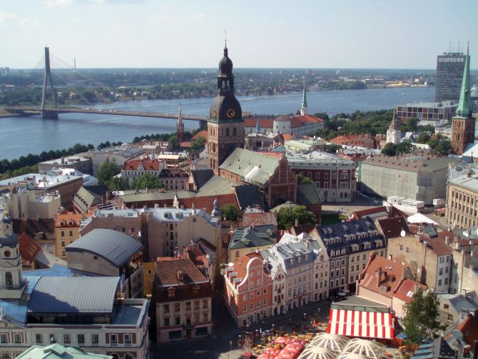 View of Riga towards the cathedral and Vansu Bridge.