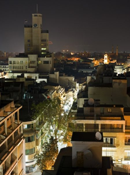 Nicosia skyline at night.