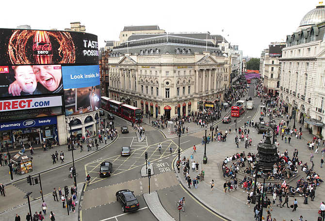 Piccadilly Circus in central London, United Kingdom.