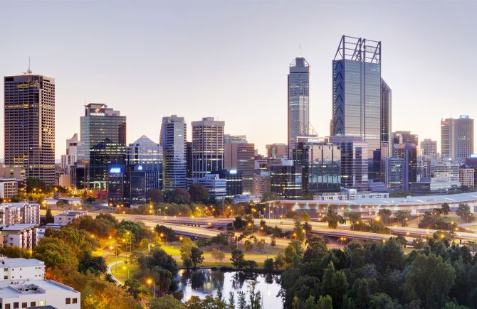 Perth central business district from Kings Park.