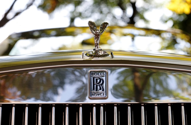 The radiator mascot, the so-called Spirit of Ecstasy or Emily, of a 2012 Rolls Royce Phantom Drophead Coupe is pictured in Zurich.