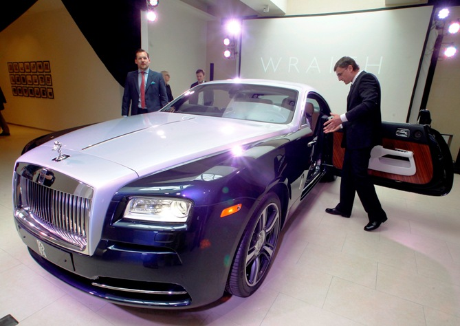 A Rolls-Royce Wraith automobile is on display during the opening ceremony of a new Rolls-Royce showroom in St. Petersburg.