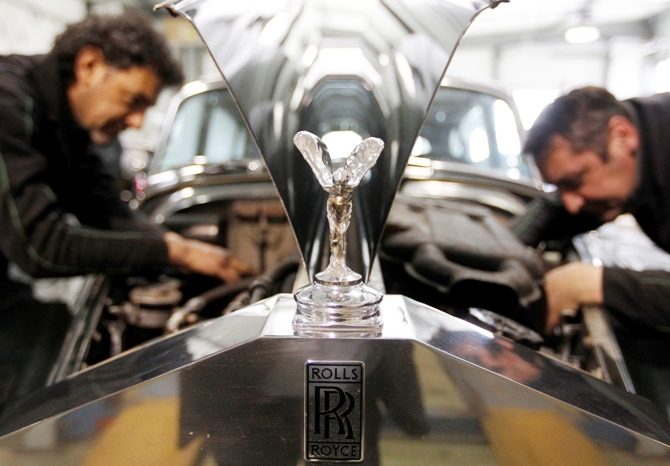 The mascot, the so-called Spirit of Ecstasy or Emily, is seen on a Rolls Royce Silver Cloud II automobile at the Continental Automobile dealership in Villeneuve sur Lot, Southwestern France.