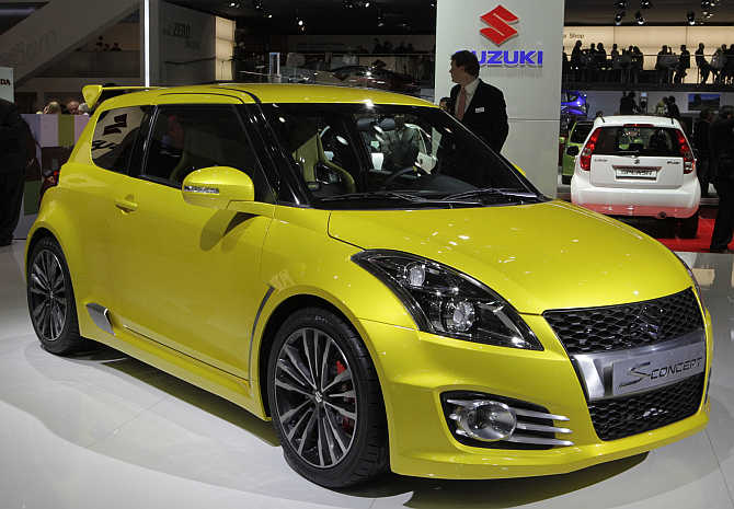 Suzuki Swift S concept car on display in Geneva, Switzerland.