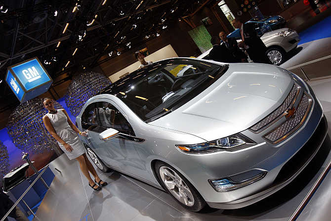 Chevrolet Volt on display in Paris, France. Chevrolet brand is owned by General Motors.