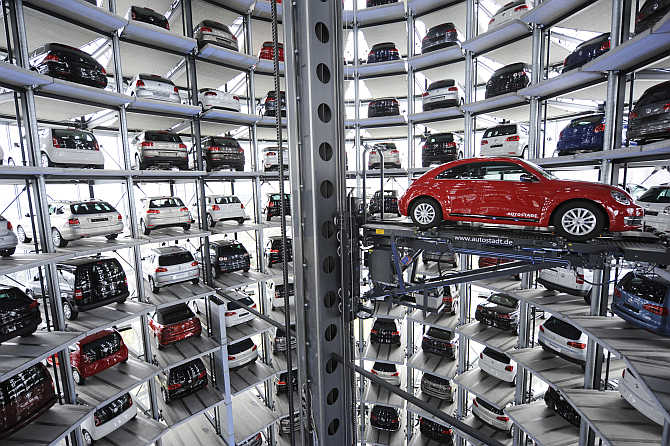 Volkswagen Beetle in a delivery tower at the company's headquarter in Wolfsburg, Germany.