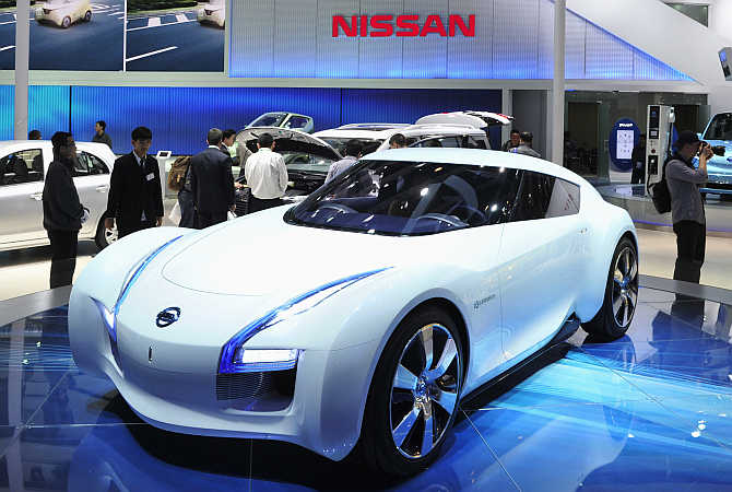 Nissan's Esflow concept car on display in Beijing, China.