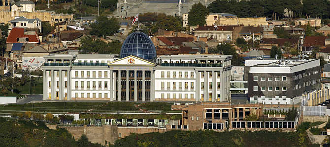 A view of the Presidential Palace in Tbilisi, Georgia.
