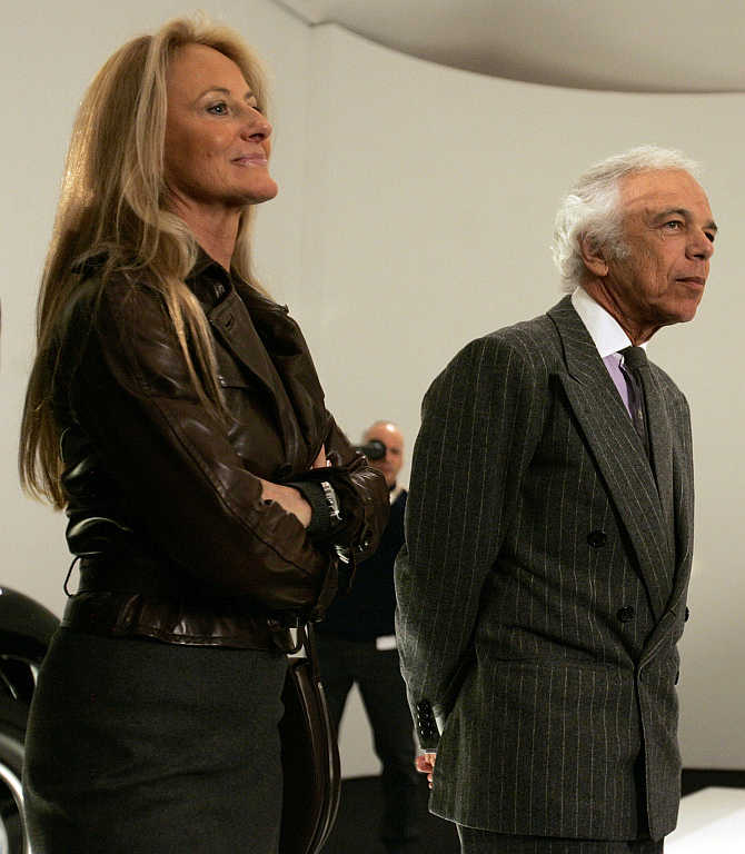 Ralph Lauren with his wife Ricky  in Boston, Massachusetts.