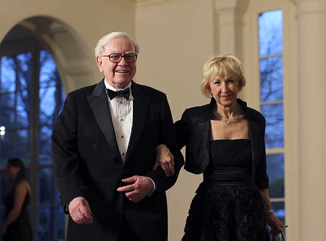 Warren Buffett with wife Astrid Menks in Washington, DC.