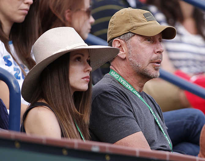 Larry Ellison with girlfriend Nikita Kahn in Indian Wells, California.