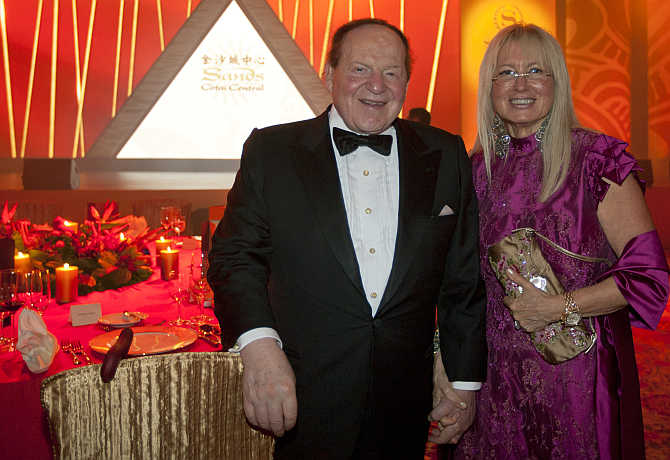Sheldon Adelson with his wife Miriam Ochsorn in Macau.