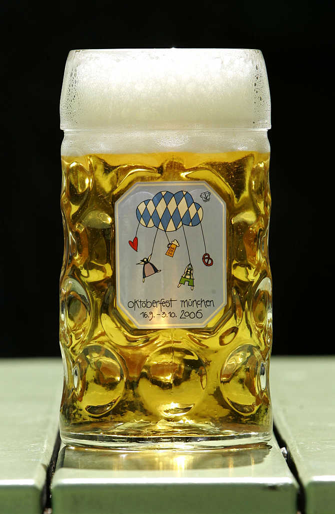 A view of an Oktoberfest beer mug in Munich, Germany.