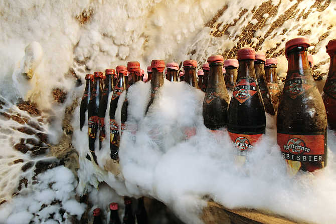 Mould covers the beer bottles in the private archive of the family-owned Hofstetten brewery in the Upper Austrian town of Saint Martin.