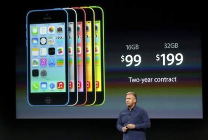 Phil Schiller, senior vice president of worldwide marketing for Apple Inc, talks about the pricing of the new iPhone 5C at Apple Inc's media event in Cupertino, California.