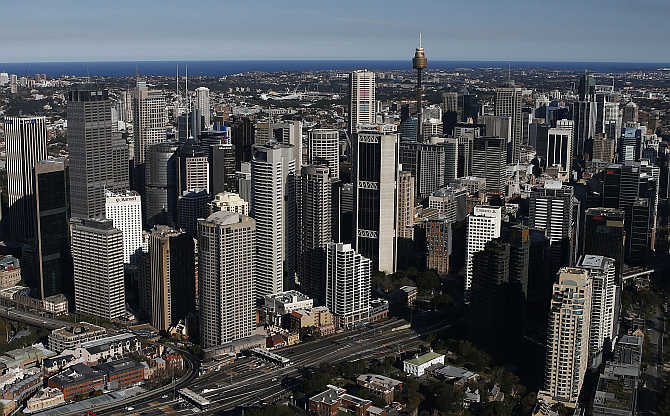 A view of Central Business District in Sydney, Australia.