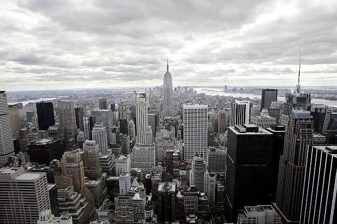 South view of New York City from the newly renovated Top of the Rock observation deck at Rockefeller Center in New York.