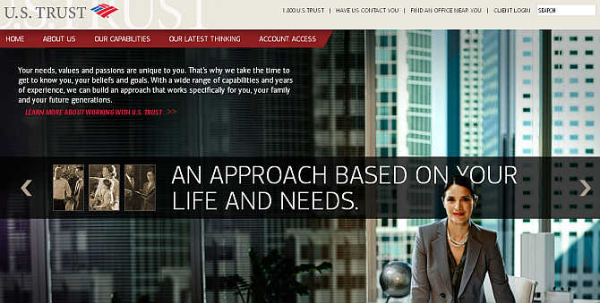 Homepage of US Trust website.