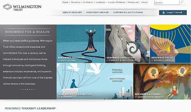 Homepage of Wilmington Trust website.