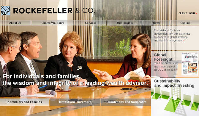 Homepage of Rockefeller & Company website.