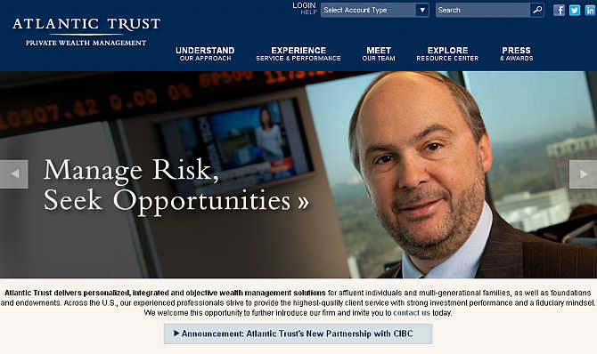Homepage of Atlantic Trust website.