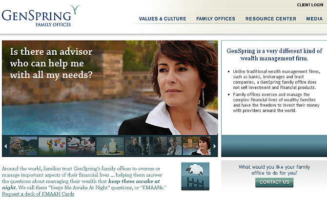 Homepage of GenSpring Family Offices website.