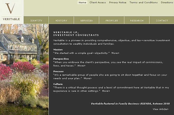 Homepage of Veritable website.