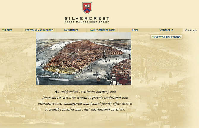 Homepage of Silvercrest Asset Management website.
