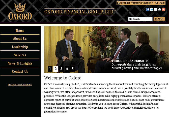 Homepage of Oxford Financial Group website.