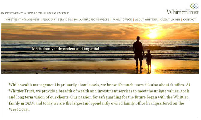 Homepage of Whittier Trust website.