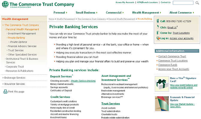 Homepage of Commerce Family Office website.