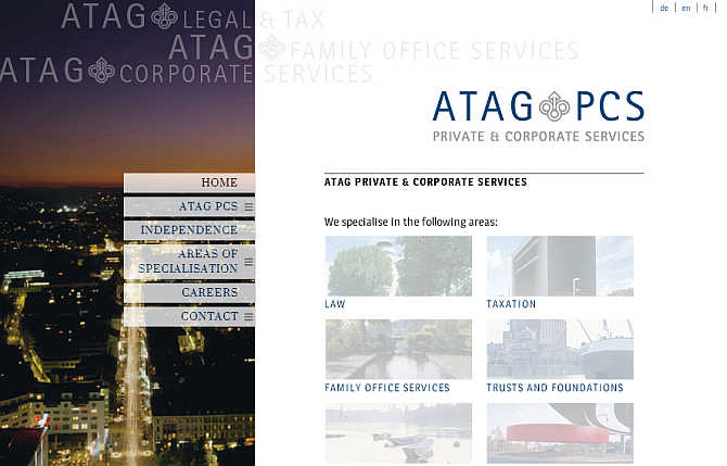 Homepage of ATAG Private and Corporate Services website.