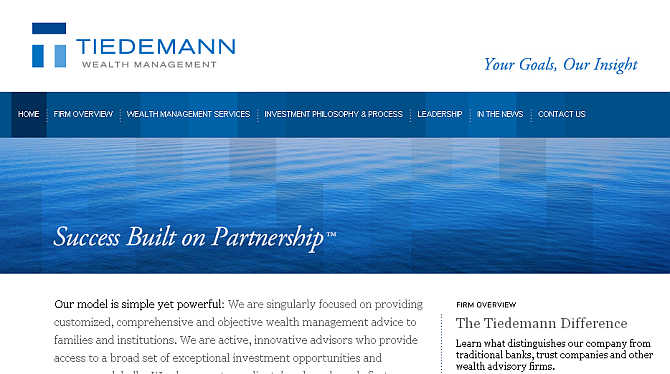 Homepage of Tiedemann Wealth Management website.