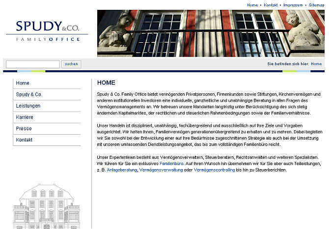 Homepage of Spudy & Co website.