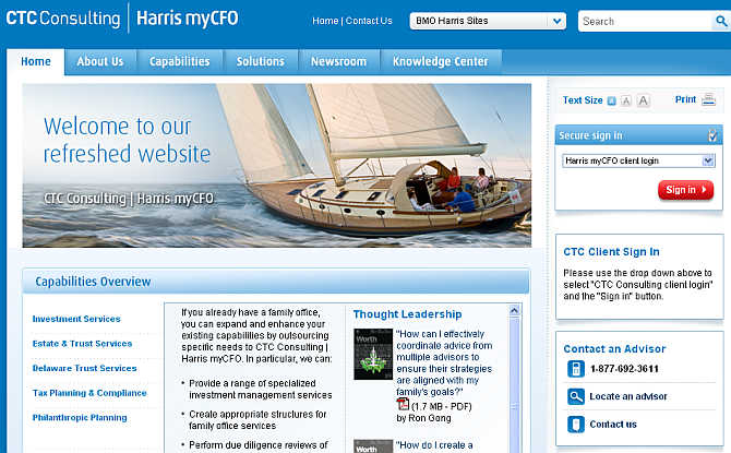 Homepage of CTC Consulting Harris myCFO website.