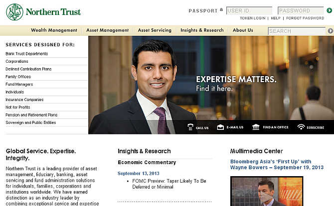 Homepage of Northern Trust website.