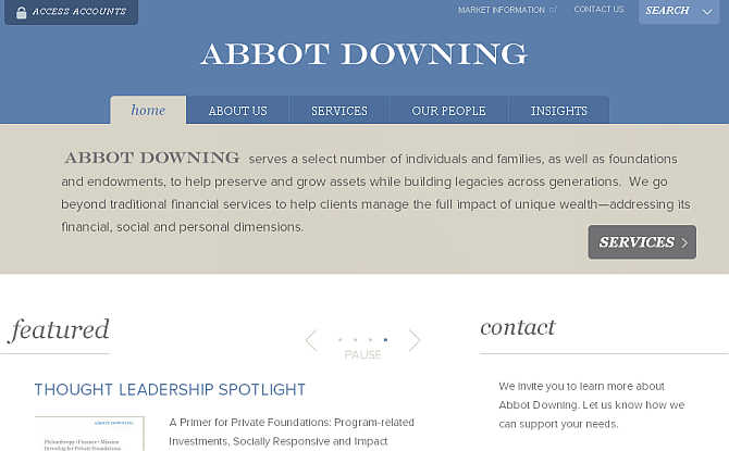 Homepage of Abbot Downing website.