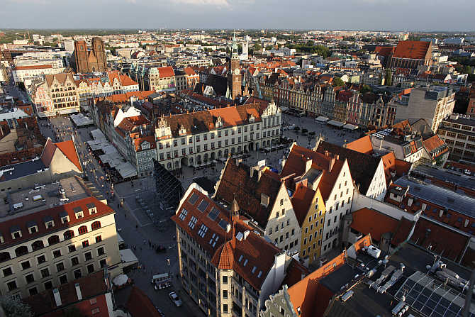 A view of Old Town is seen in Wroclaw, southern-western Poland.