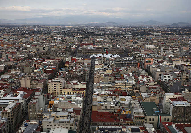A view of downtown Mexico City, Mexico.