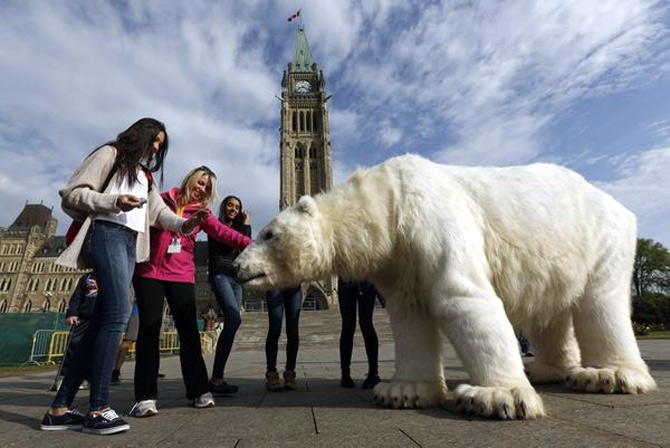Students on a tour look at Greenpeace activists dressed in a polar bear costume during a demonstration, on Parliament Hill in Ottawa.