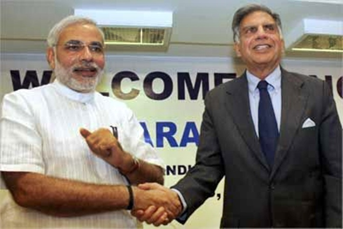 Narendra Modi with Ratan Tata.