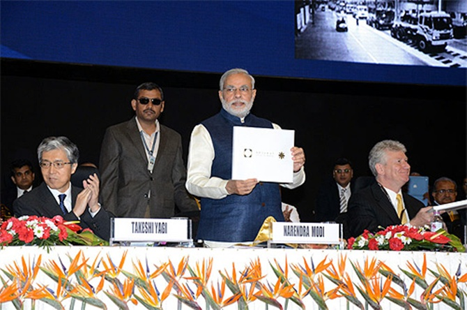 Narendra Modi during the Vibrant Gujarat Summit.