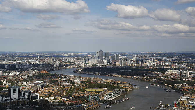 A view of Canary Wharf in London, United Kingdom.