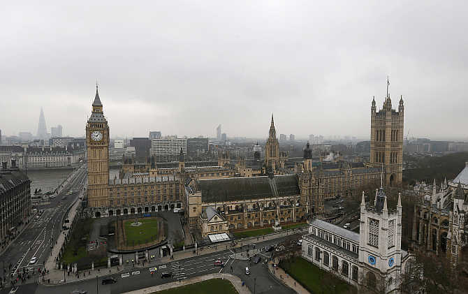Houses of Parliament are seen in central London, United Kingdom.