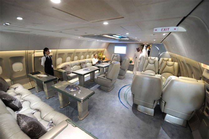 An interior section in an Airbus A310-304 is seen during the Abu Dhabi Air Expo at Al Bateen Executive Airport in Abu Dhabi.